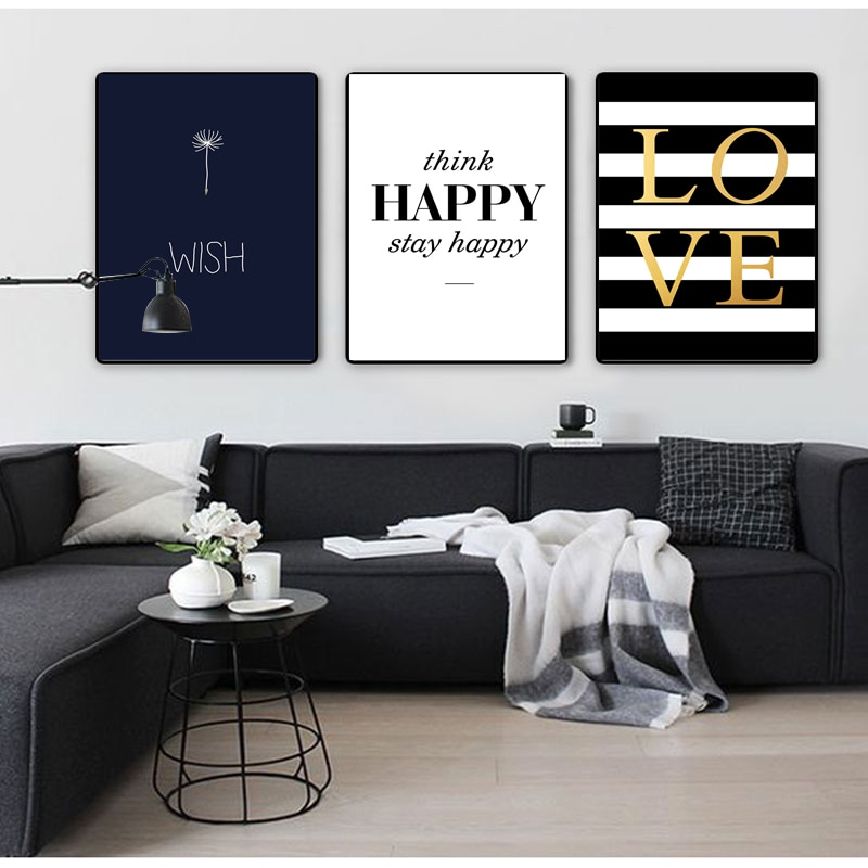 COLORFULBOY-Modern-Happy-Quotes-Canvas-Painting-Black-White-Wall-Pictures-For-Kids-Room-Wall-Art-Posters